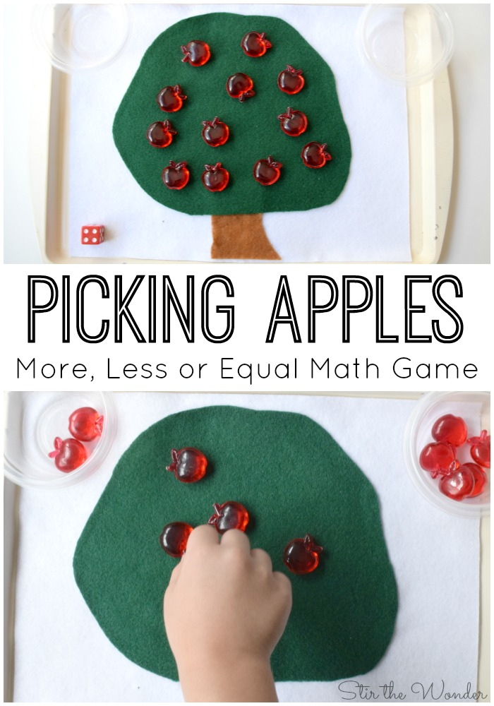 Picking Apples More, Less or Equal Math Game