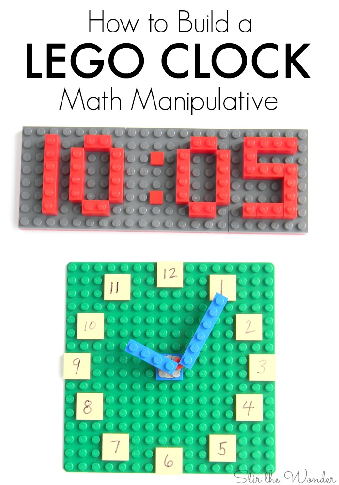 The LEGO® Clock is a wonderful math manipulative for kids in school or homeschooling!