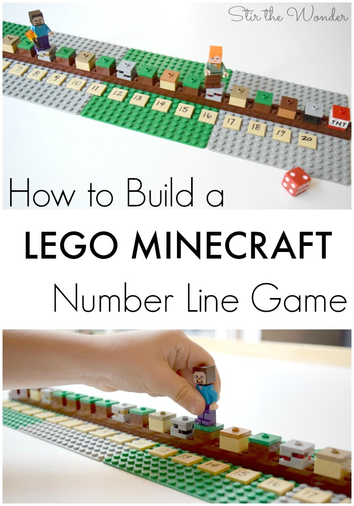 Learn how to build a LEGO Minecraft Number Line Game and how to play this math game for hands-on learning with your kids!