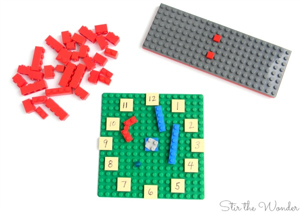 supplies needed to build LEGO Clock Math Manipulative