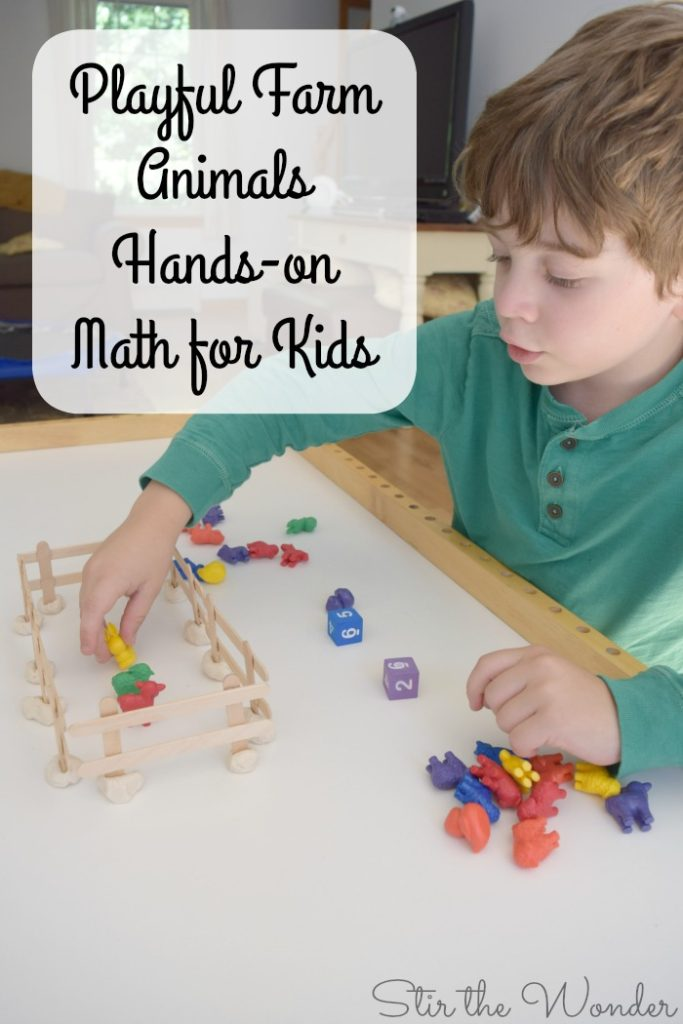 Playful Farm Animals Hand-on Math for Kids is a fun game to teach preschoolers & kindergarteners addition and subtraction with counters!