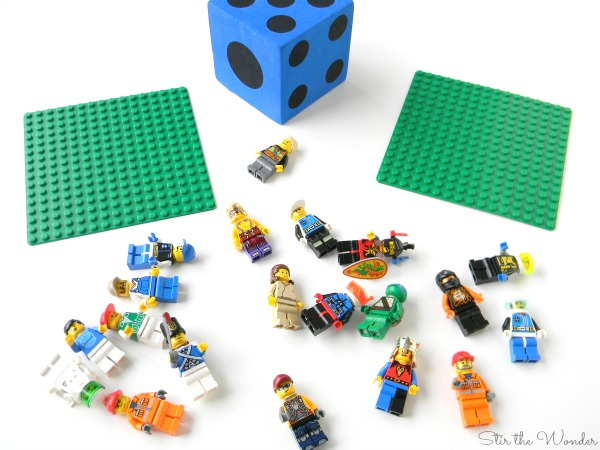 supplies needed to play LEGO Minifigure More, Less or Equal Math Game