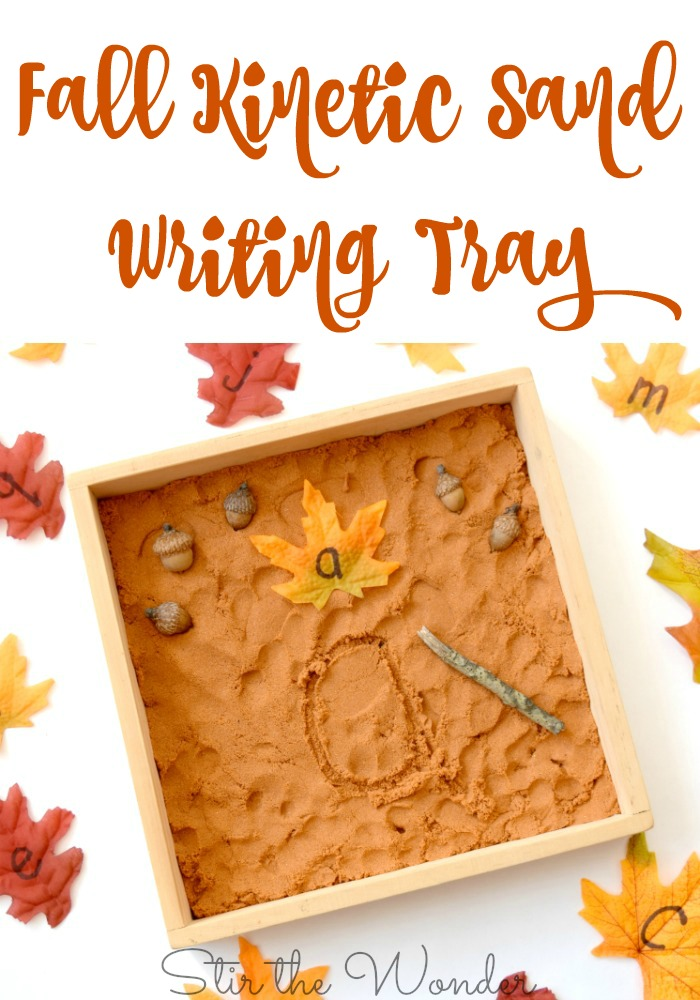 The Fall Kinetic Sand Writing tray will fit perfectly into your fall themed plans and inspire young learners to practice fine motor and handwriting skills!