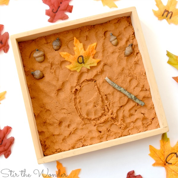 fall kinetic sand writing tray for fine motor practice