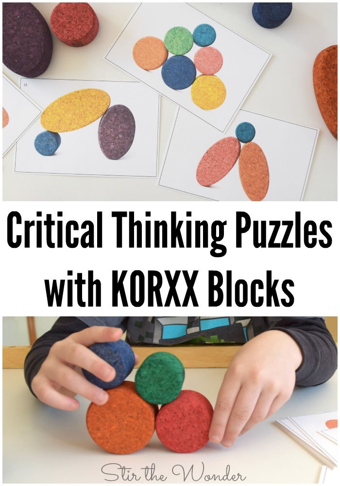 These critical thinking puzzles to use with KORXX blocks are a fun way for kids to practice problem solving and critical thinking skills through play!