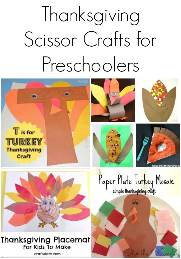Seven Thanksgiving Scissor Crafts for Preschoolers to create while practicing fine motor skills.