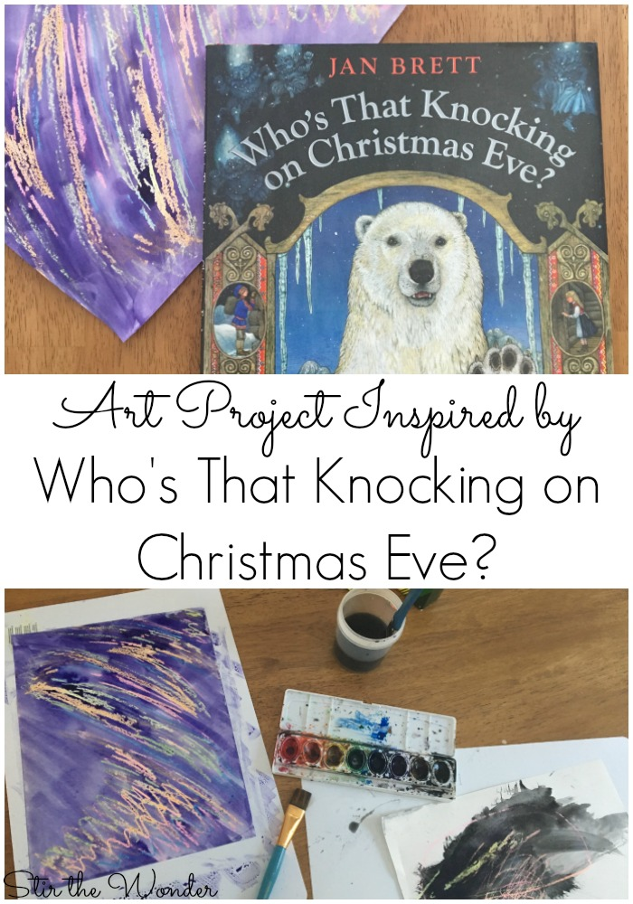 Simple Art Project inspired by Jan Brett's Who's That Knocking on Christmas Eve?