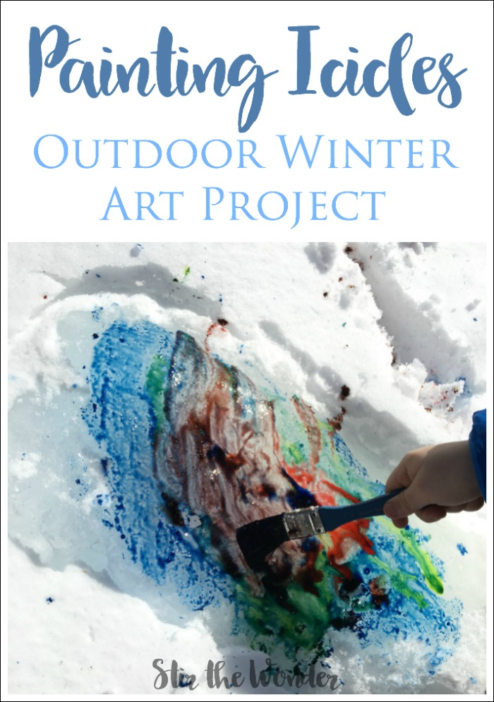 Painting Icicles is a wonderful outdoor process art project that kids love to do in the Winter!