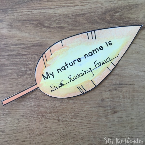 Printable feather name tag, painted with watercolors and cut out.