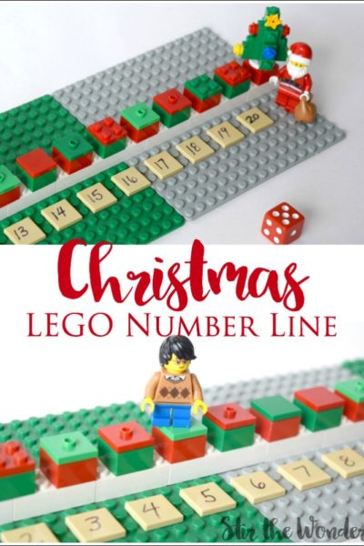 Children with love practicing their math skills this holiday season with this fun Christmas LEGO Number Line Math Game!