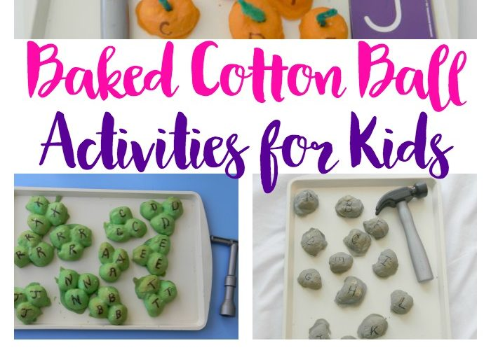 Baked Cotton Balls are a fun, creative and hands-on way for preschoolers to learn and practice fine motor skills.