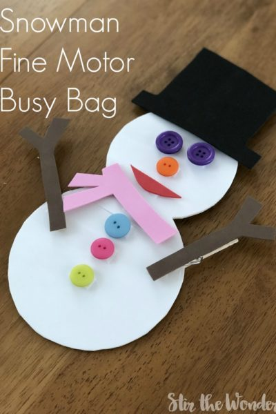 Your preschoolers will have fun all winter long with this Snowman Fine Motor Busy Bag.