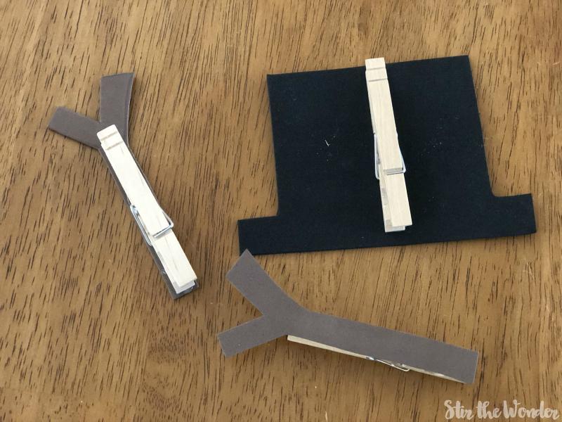 Snowman Fine Motor clothespin clip accessories