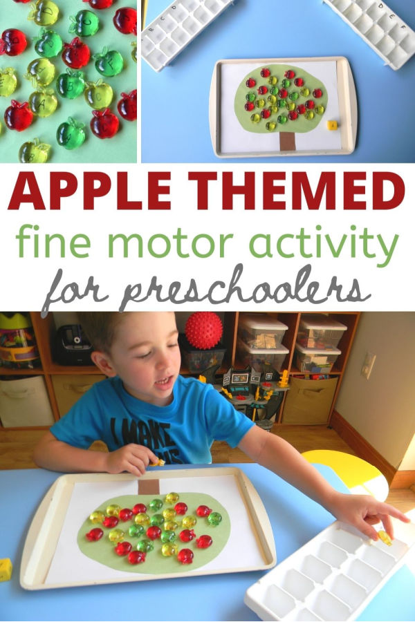 This Apple themed fine motor activity is fun for preschoolers and a hands-on way to learn alphabet recognition.