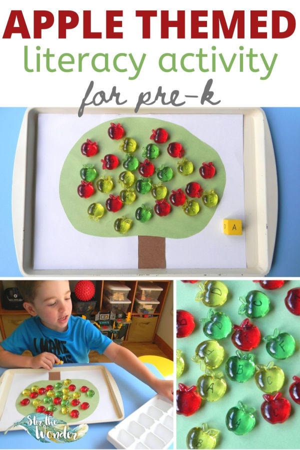 This apple themed literacy is perfect for pre-k students to learn alphabet recognition.