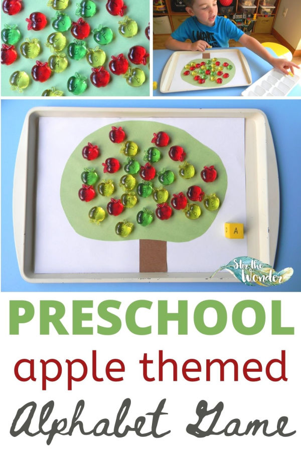 Preschoolers will have fun learning the alphabet with this apple themed alphabet game!