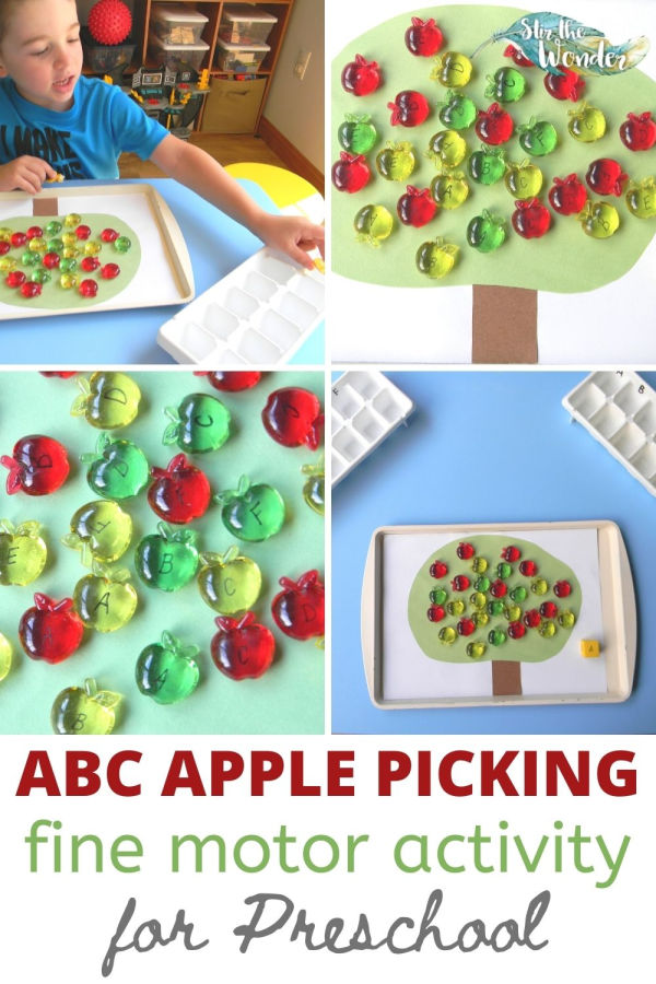 This ABC Apple Picking Fine Motor Activity for preschoolers is a great way for 3-5 year olds to learn letter recognition.