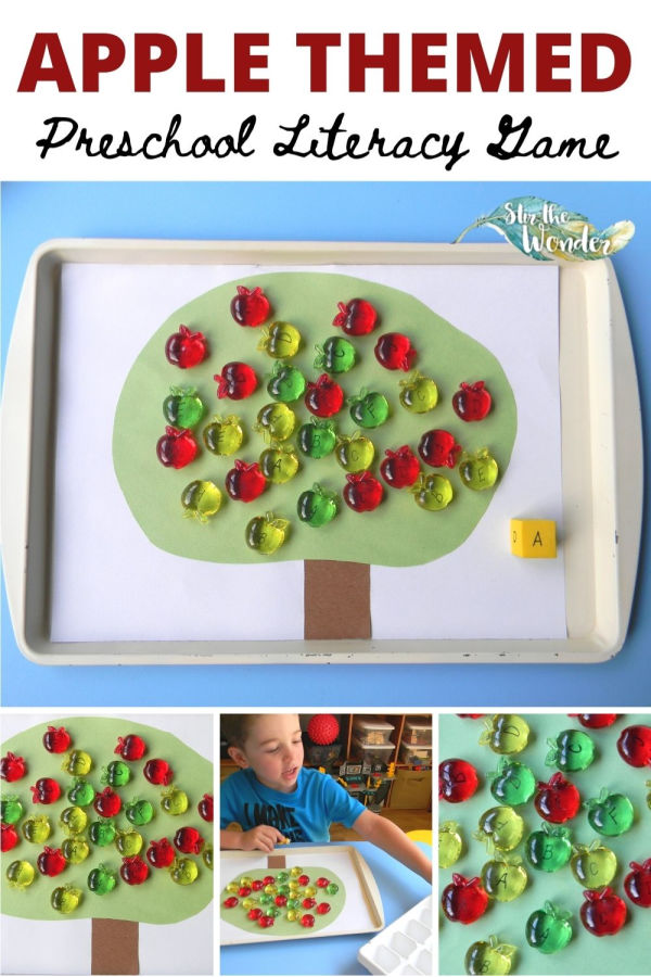This Apple themed Literacy Game is a fun way for 3-5 year old preschoolers to learn the alphabet letters!