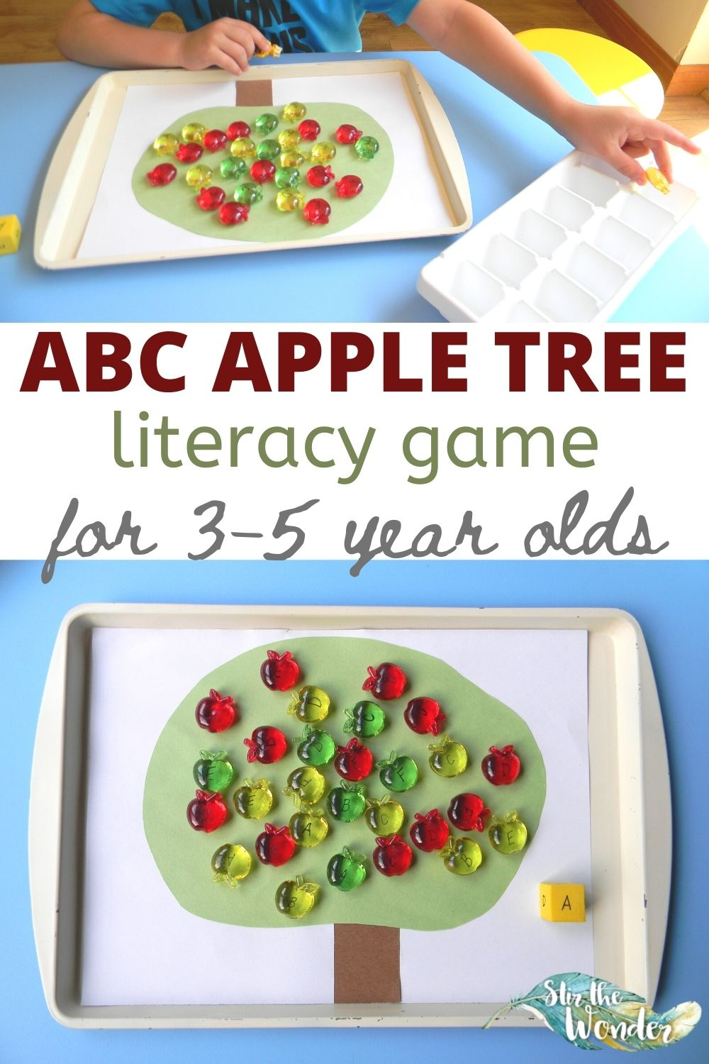 ABC Apple Tree Literacy Game is a fun way for 3-5 year old preschoolers to learn the alphabet letters!
