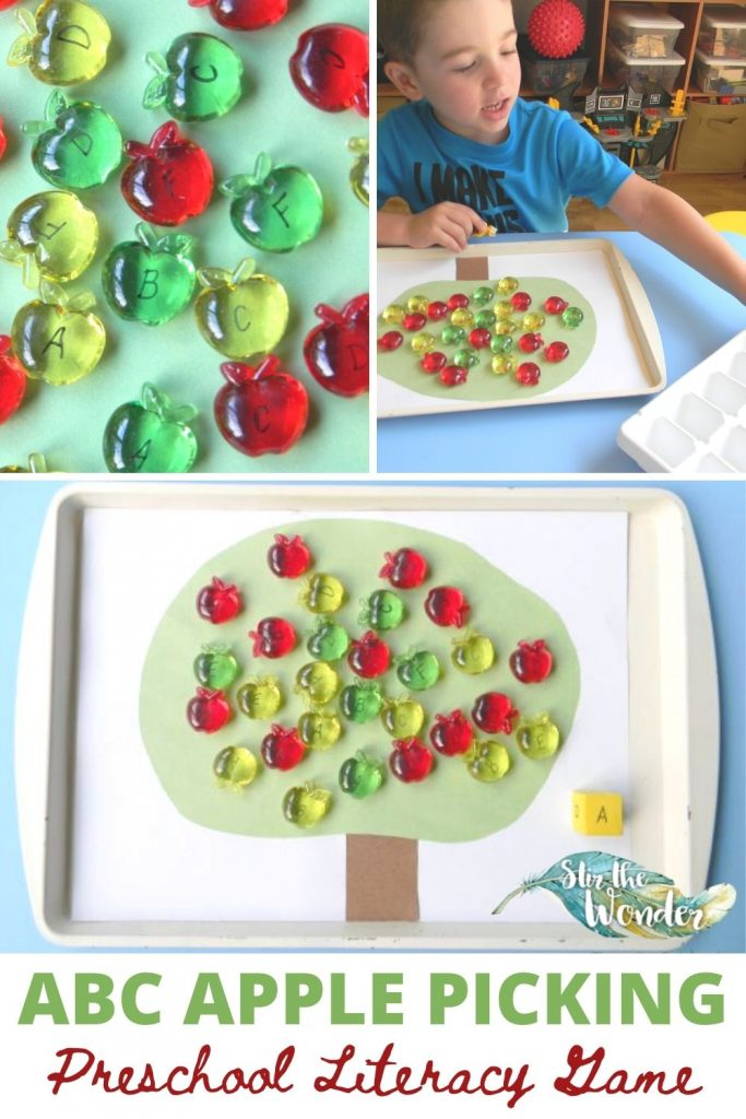 ABC Apple Picking is a fun Preschool Literacy Game for teaching 3-5 year old letter recognition.