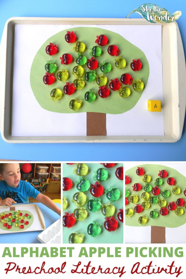 Preschoolers will have fun learning the alphabet with this ABC Apple Picking literacy activity!