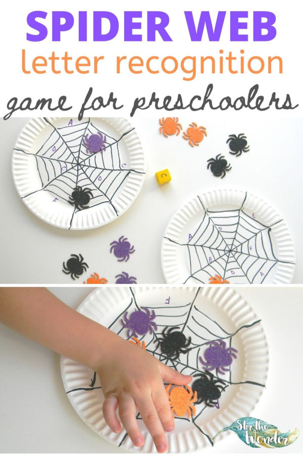 This Spider Web letter recognition game for preschoolers is the perfect addition for a Halloween theme.