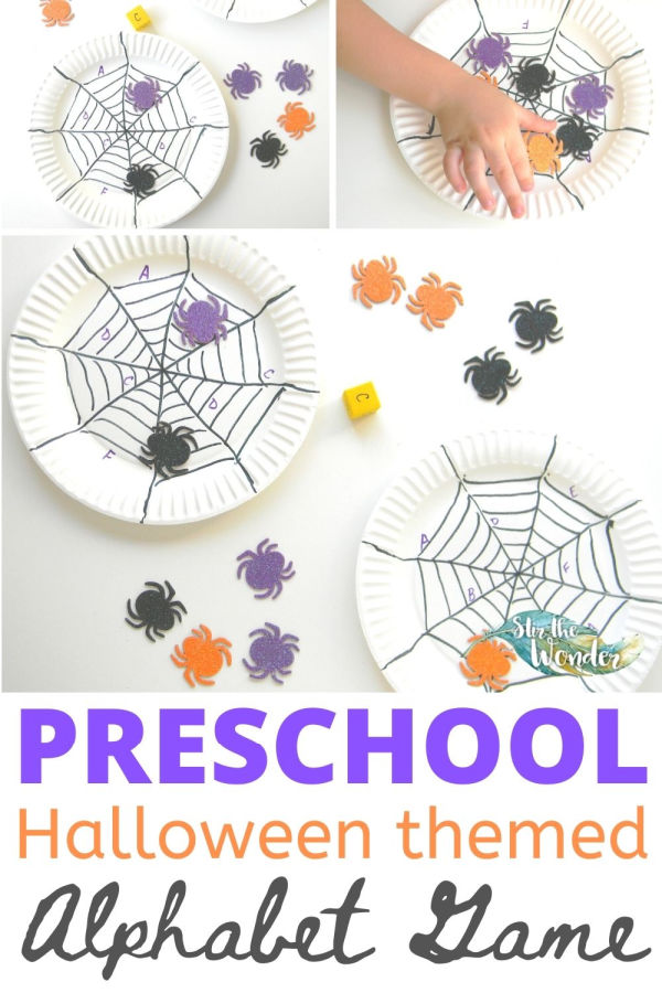 This preschool Halloween themed alphabet game with spooky spiders is a fun way to learn letter recognition.