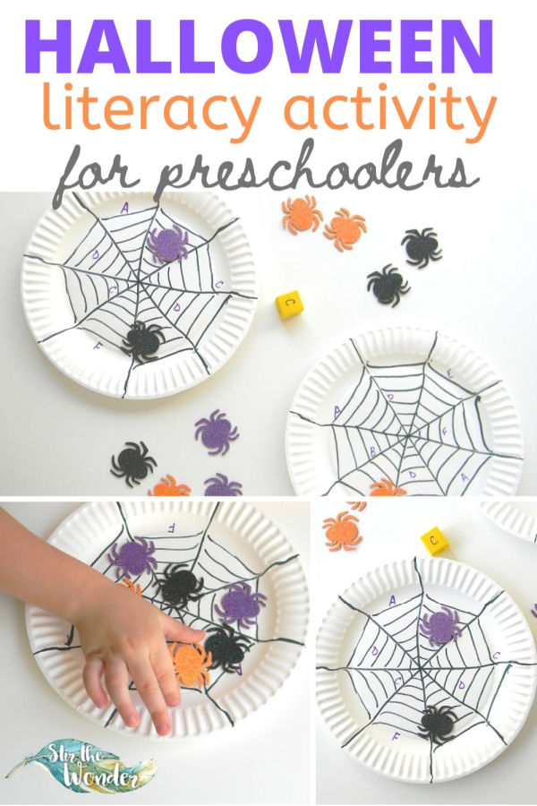 This Halloween literacy activity for preschoolers is a fun way to practice letter recognition.
