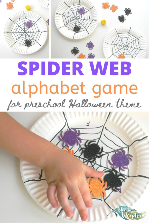 Preschoolers will have fun playing this Spider Web Alphabet Game during Halloween.
