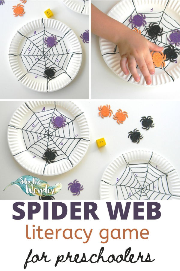 This Spider Web Literacy Game for Preschoolers is a fun way to practice letter recognition during Halloween.