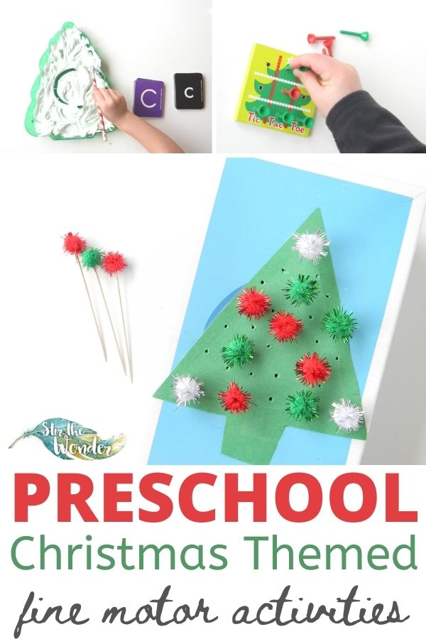 6+ Preschool Christmas Themed fine motor activities for the home or classroom.