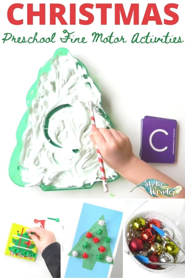 These Christmas Preschool Fine Motor Activities can easily be put together with items you have at home.