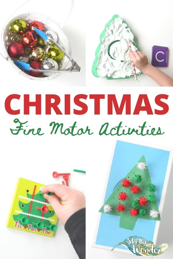 These Christmas Fine Motor Activities will have your toddler or preschoolers having fun this holiday season while practicing valuable skills!