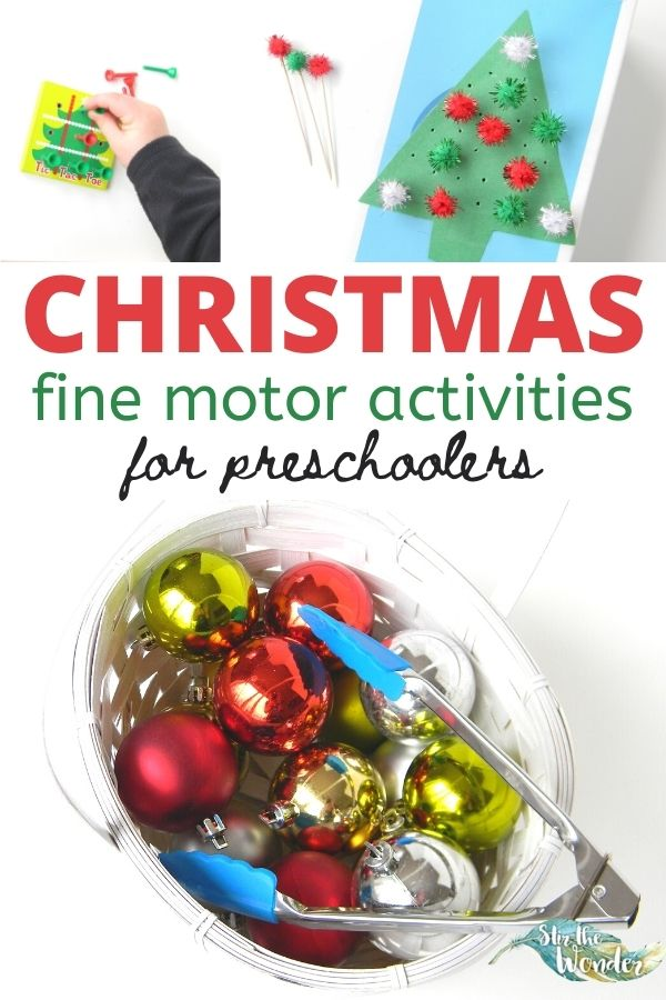 These 6 Christmas Fine Motor Activities activities will have preschoolers learning and developing skills all through the holiday season.