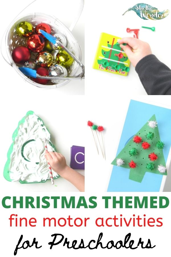 Six fun and festive Christmas Themed Fine Motor activities for preschoolers.