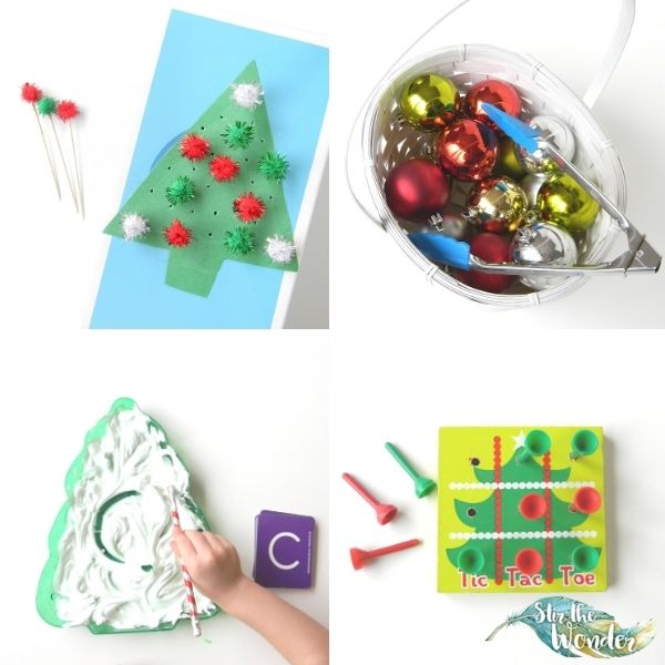 Here are 6 Christmas fine motor activities for toddlers and preschoolers.